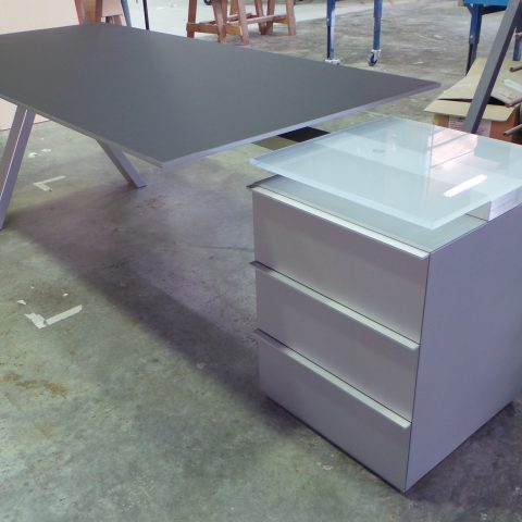 Linoleum, aluminum, toughened etch glass and Texture metallic silver two pac polyurethane finish filing cabinet