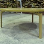 American Oak coffee table with square sharknose edge & custom moulded legs - 2