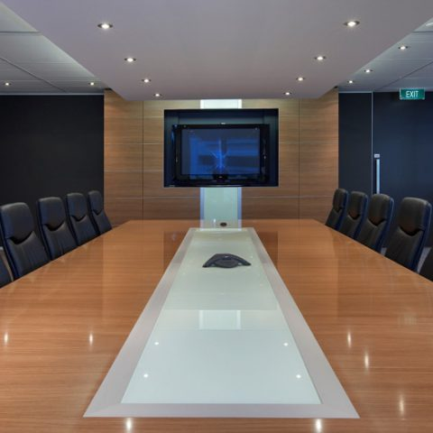 American cherry veneer boardroom table with glass inlay