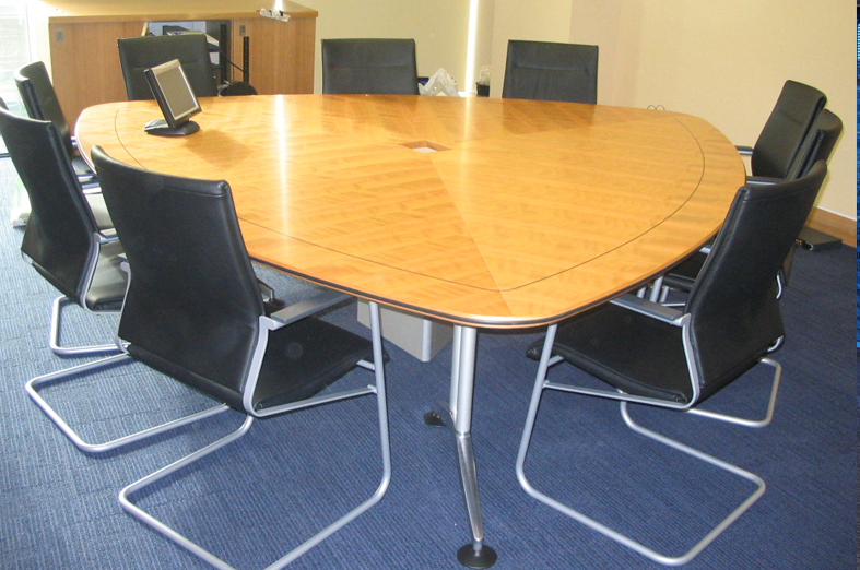 American Cherry Veneer Tripanel Table With Black Inlay Feature - Conference room table cable management