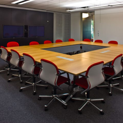 Anegre configuration conference tables with cable management intergated