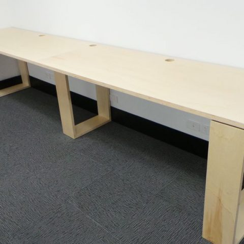 Birch ply sled style computer breakout workstations