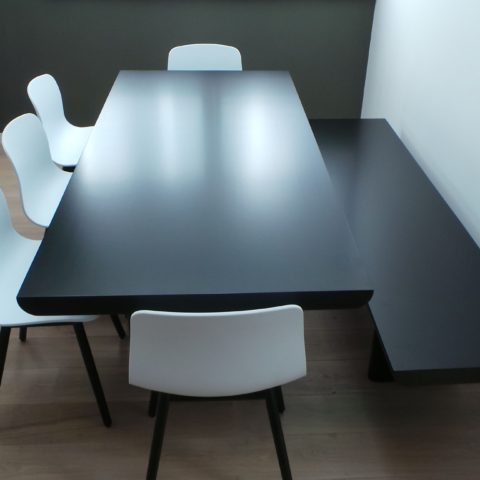 Black two pac polyurethane on solid timber table & matching bench