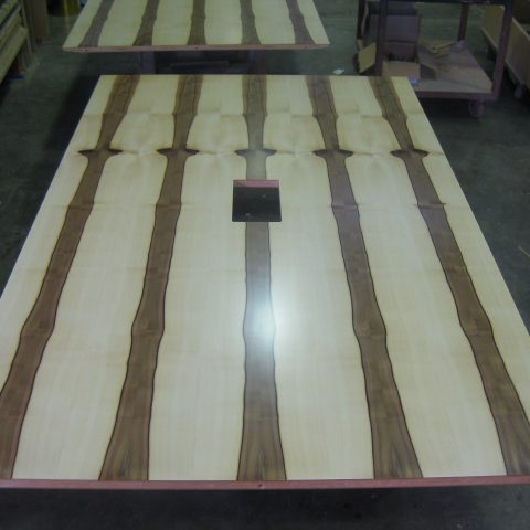 Blackheart Sassafras Veneer configuration tables with cable management
