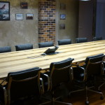 Blackheart Sassafras veneer boardroom table top with integrated cable box 3