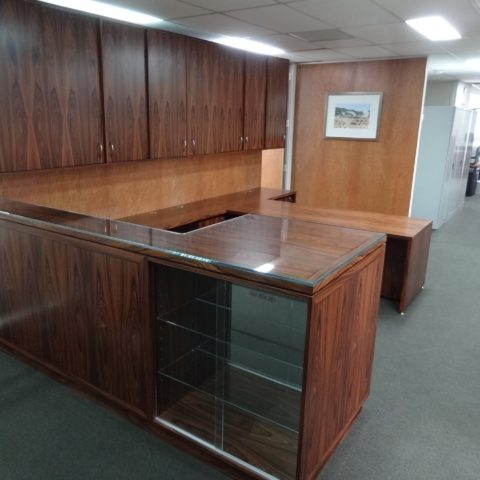 Palisander desk, credenza & display unit