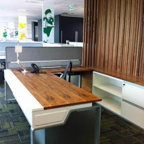 Palisander veneer, two pac-polyurethane and glass sided workstation with matching credenza