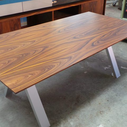 Palisander veneer table with matching credenza