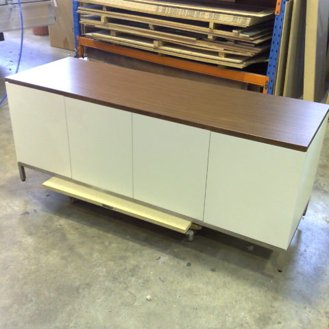 Quarter cut walnut veneer & white two pac polyurethane credenza with stainless steel base