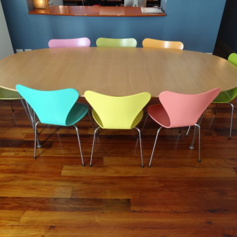 Refurbishment of a classic dining setting is custom colour matched seating & looking brand new again
