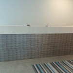 Textured woodgrain laminate & faux metal reception desk